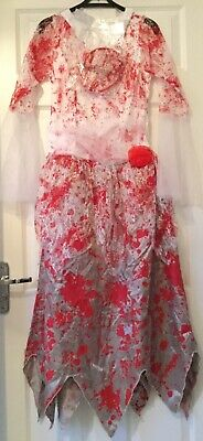 Women Ladies Adults Zombie Bride Halloween Custome Fancy Dress, Size 12-14 • 15£