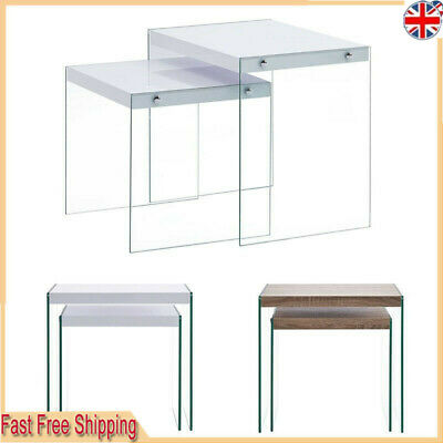 Nest Of 2 Coffee Table Side End Table Set Living Room Furniture Tempered Glass • 80.59£