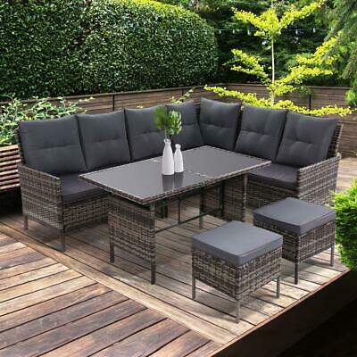 AU929 • Buy Outdoor Sofa Set Patio Furniture Lounge Setting Dining Chair Table Wicker Grey