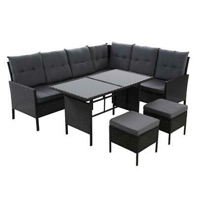 AU929 • Buy Outdoor Sofa Set Patio Furniture Lounge Setting Dining Chair Table Wicker Black