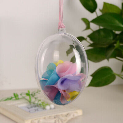 10* Plastic Egg Hanging Clear Ball Baubles Fillable For Party Home Easter Decors • 5.63£