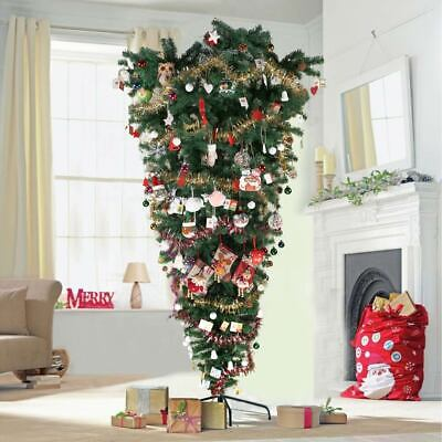 7ft Upside Down Artificial Christmas Tree & Stand 1000 Tips Xmas Tree Home Decor • 41.99£