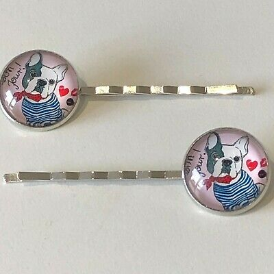 £4 • Buy Pair, Cute French Bulldog, Silver Hair Clips, Gifts Under £5