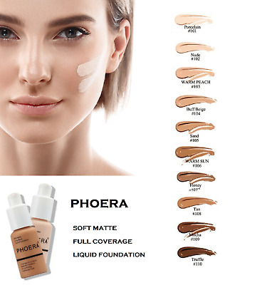 PHOERA Foundation Concealer Full Coverage Makeup Matte Brighten Long Lasting UK • 6.49£