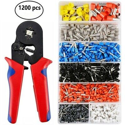Tubular Crimper Plier Crimping Tool Cable Wire With 1200Pcs Electrical Terminals • 13.99£