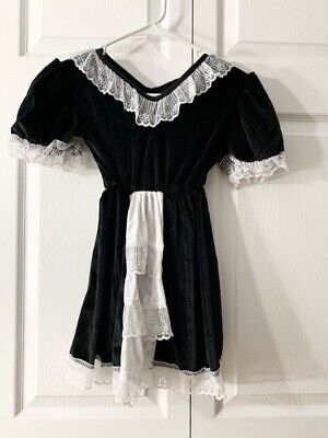 $14.99 • Buy Country Silk Girls Upstairs Maid Costume Set Black Lace Halloween S 4-6 New
