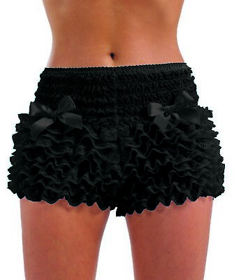Womens White Black Pants Adult Burlesque Frilly Shorts For Fancy Dress Costume • 14.95£