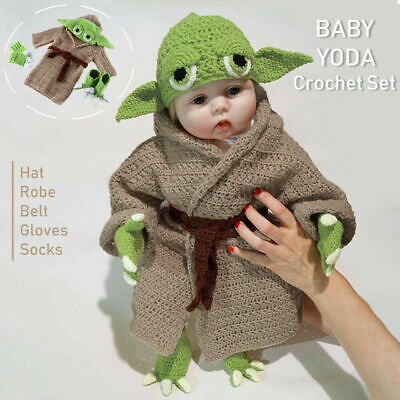 UK Star Wars Master Yoda Newborn Baby Knitted Crochet Costume Prop Outfit-SetNEW • 19.99£