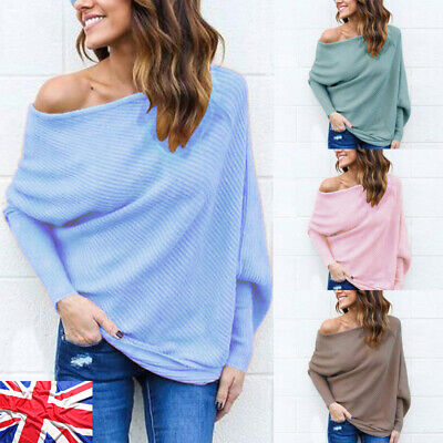 Womens Off The Shoulder Chunky Knit Jumper Ladies Oversized Baggy Sweater Tops L • 10.74£