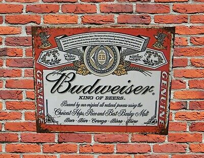Budweiser, Printed Metal Sign /wall Art, Pub /home Bar Interest • 7.50£