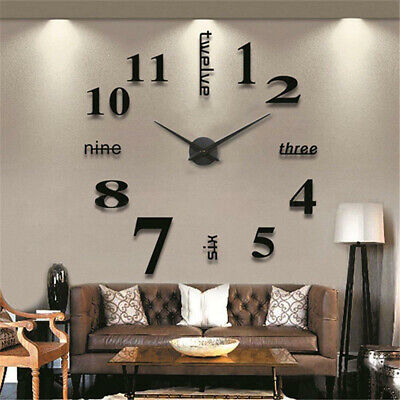 Modern DIY 3D Large Number Wall Clock Mirror Sticker Decor Home Office Kids Room • 8.99£