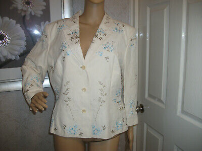 Alex & Co Linen & Silk 3/4 Sleeve Occasion Jacket Cream With Embroidery Size 18 • 4.99£
