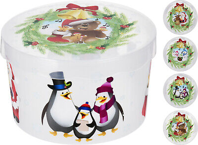 Large Christmas Cake Storage Box Christmas Biscuits Sweets Santa Cookies Tin Tub • 6.35£