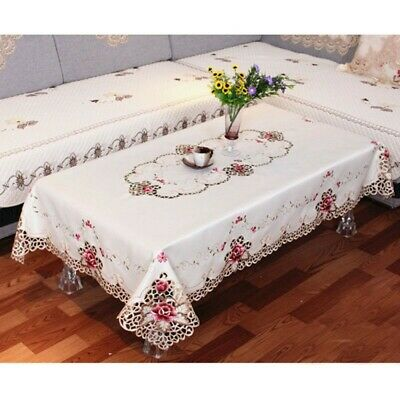 £11.93 • Buy Embroidered Tablecloth Flower Hollow Coffee Table Cloth Doily Satin Cover Gift