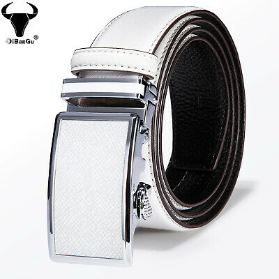$19.73 • Buy Fashion White Genuine Leather Mens Belts Automatic Buckles Ratchet Waist Straps