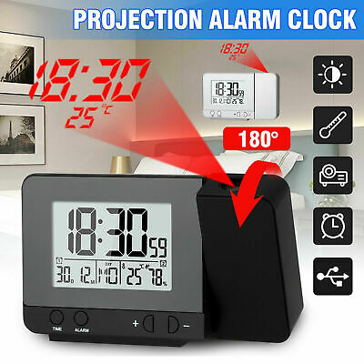 LED Digital Projection Alarm Clock Weather Thermometer Calendar Backlight Snooze • 7.99£