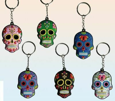 Day Of The Dead Rubber Skull Key Ring Keychain (Choice Of 8 Colours) • 2.99£