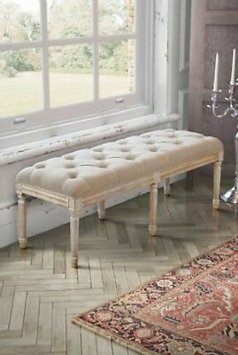 £124.89 • Buy French Style Bench Antique Leg Furniture Bedroom Window Seat Shabby Chic Hallway