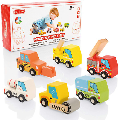 Milly & Ted Wooden Toy Cars Set - Set Of 6 Push-Along Vehicles For Children Aged • 13.34£