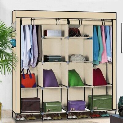 Large Canvas Wardrobe Hanging Rail Multiple Shelves Cupboard Clothes Storage • 29.99£