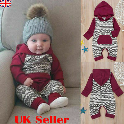 UK Newborn Baby Girl Boy Hooded Romper Bodysuit Jumpsuit Cotton Clothes Outfits • 6.89£