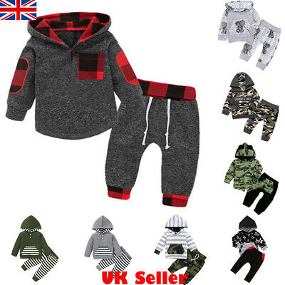 2Pcs Infant Baby Boys Clothes Outfits Hooded Jumper Tops+Pants Tracksuit Sets UK • 11.39£