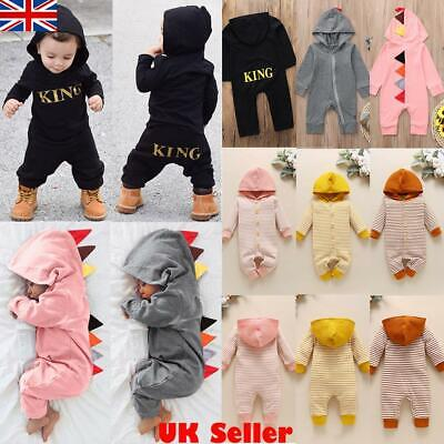 £6.99 • Buy Newborn Baby Infant Boy Girl Hooded Romper Outfits Bodysuit Jumpsuit Clothes Set