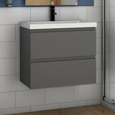 500 600mm Bathroom Vanity Unit With Basin White Or Grey Wall Mounted 2 Drawers • 184.99£