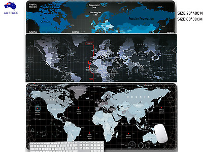AU14.99 • Buy 90*40/80*30 World Map Mousepad Large Big Size Gaming Computer Mouse Pads  Mat