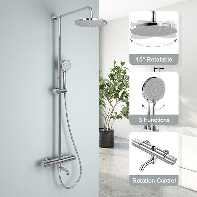 Thermostatic Shower Mixer Bathroom Round Exposed Twin Head Valve Chrome Bar Set • 58.99£