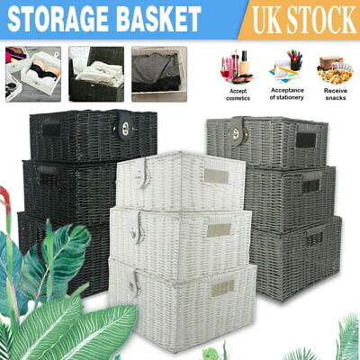 Storage Basket Hamper Resin Wicker Woven Hamper Set Of 3 Box With Lid And Lock • 19.99£
