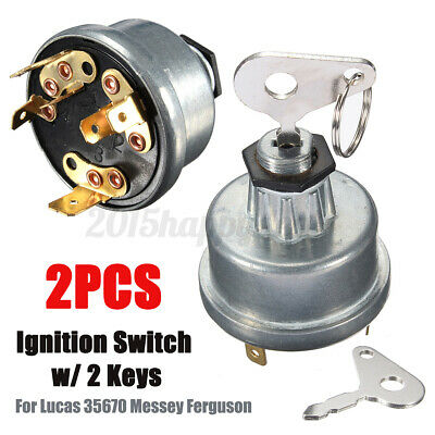 2x Tractor Plant Ignition Switch + Key For Massey Ferguson Jcb Lucas 35670  • 12.59£
