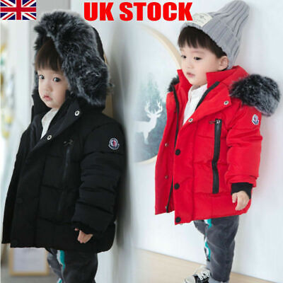 UK Kids Boys Girls Toddler Warm Coat Fur Hooded Cotton Padded Down Parkas Jacket • 18.99£