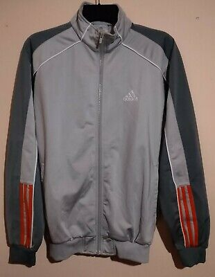 Vintage Adidas Sport Full Zip L/s Silver Grey Orange Track Top L Germany Dassler • 49.99£