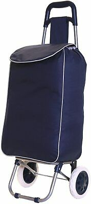 SPECIAL 2 Wheel Folding Lightweight Shopping Trolley Mobility Cart Case Bag NAVY • 13.99£