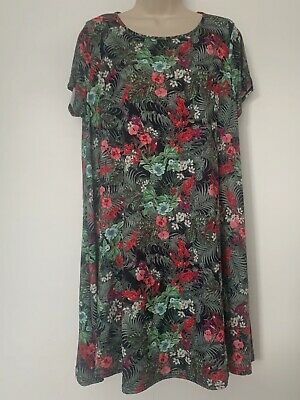 FEARNE COTTON Green Floral Swing Dress / Longline Top - UK Size 16 • 1.20£