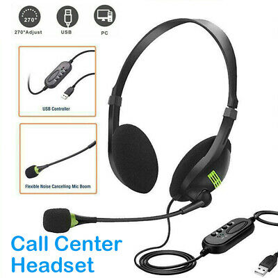 USB Stereo Headphones With Microphone Noise Cancelling Headset For Skype Laptops • 5.98£