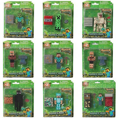 AU24.68 • Buy Minecraft Overworld 10cm Collection Action Figure Steve Enderman Creeper Diamond