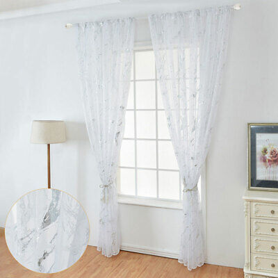 £9.99 • Buy 1/2X Marble Printed Window Curtain Tulle Voile For Living Room Window Room Decor