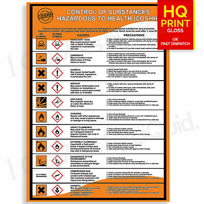 £4.99 • Buy Coshh Health And & Safety Laminated A4 A3 Workplace Poster