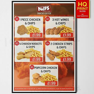 Fast Food Chips/Chicken Restaurant Takeaway TABLE Menu Poster *LAMINATION* A3 A4 • 12.99£