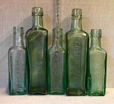 Five Old Large & Small Paterson's Glasgow Aqua Glass Coffee Bottles. • 6£