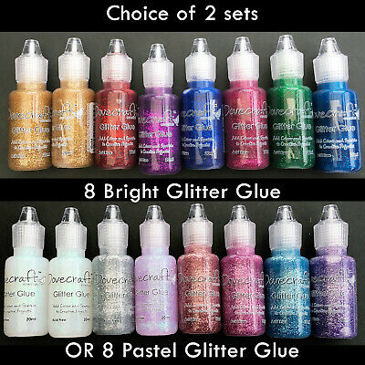 Glitter Glue Set Of 8 Dovecraft 20ml Bottles Choose Brights Or Pastels • 9.95£