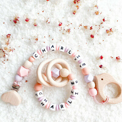 £4.99 • Buy Personalised Wood Ring Silicone Beads Baby Teething Pacifier Clip Bracelet Toys