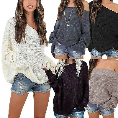 Womens Off The Shoulder Knitted Sweater Ladies Loose Jumper Pullover Tops Blouse • 15.39£