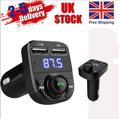 Wireless Bluetooth Handsfree Car Kit FM Transmitter MP3 Player Dual USB Charger • 5.59£