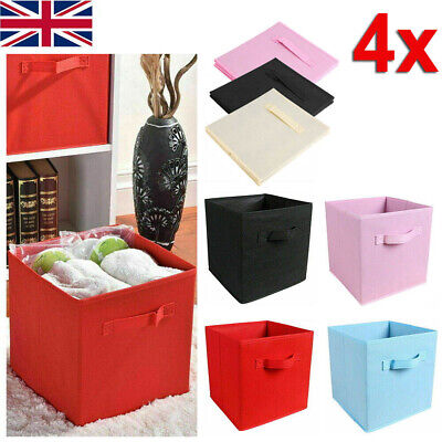 £10.49 • Buy 4X Foldable Canvas Storage Collapsible Folding Box Fabric Cube Cloth Bag Basket