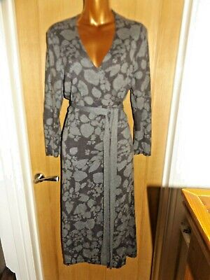 Gorgeous Super Soft Grey Floral Knitted Wrap Phase Eight Midi Dress Size 16 • 14.50£