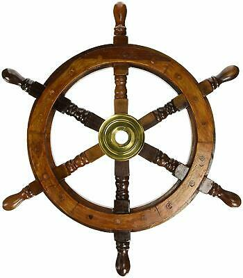 Wooden Ship Steering Wheel 24  Nautical Pirate Wood Brass Finishing Wall Boat • 41.22£