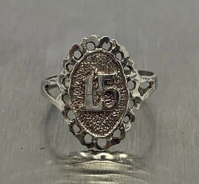 $ CDN22.50 • Buy 925 Sterling Silver Vintage Quinceanera Crown Ring Number 15 Size US 7.5